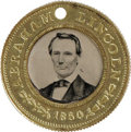 Political:Ferrotypes / Photo Badges (pre-1896), Extraordinary Lincoln and Hamlin Campaign Ferrotype A 25mm. solidbrass political from 1860, a back-to-back medal with the s...