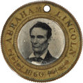 Political:Ferrotypes / Photo Badges (pre-1896), Lincoln and Hamlin Campaign Ferrotype. A 25mm. solid brasspolitical from 1860, a back-to-back medal with photographs ofthe...