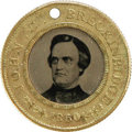 Political:Ferrotypes / Photo Badges (pre-1896), Bold Breckinridge and Lane Campaign Ferrotype. Another 25mm solidbrass political from 1860, a back-to-back medal for the Br...