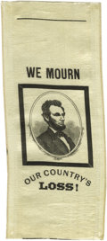 "Political:Ribbons & Badges, Abraham Lincoln Mourning Ribbon A fine example, a 3.25"" x 7.5"" silk mourning ribbon bearing a black bordered bust portrait o..."