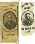"Political:Ribbons & Badges, Abraham Lincoln Mourning Ribbons. A nice pair of silk mourning ribbons, one measuring 2.5"" x 5.5"" bearing the text ""We Loved... (Total: 2 )"