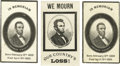 """Political:Small Paper (pre-1896), Abraham Lincoln Mourning Cards A good set of three (3) 1865 Victorian mourning cards, 2.5"""" x 4"""" each, marking the death of A... (Total: 3 )"""