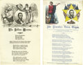 """Political:Small Paper (pre-1896), Abraham Lincoln Song Sheets. A terrific pair of printed 5"""" x 7""""song sheets from 1864 and 1865. The first, brightly hand col...(Total: 2 )"""
