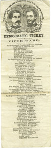 """Political:Small Paper (pre-1896), McClellan & Pendleton Jugate Ballot. Proclaiming that """"TheUnion is The One Condition of Peace. We Ask No More"""", thisMichig..."""