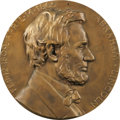 "Political:3D & Other Display (1896-present), Bronze Lincoln in Profile Memorial Plaque. This sturdy wall-hanginghas a diameter of 9.75"". Raised lettering around the bor..."