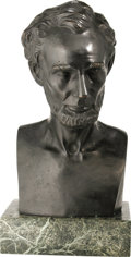 Political:3D & Other Display (pre-1896), Abraham Lincoln: A Second Magnificent, Large Bronze Bust by ThomasD. Jones. This powerful image was sculpted in 1864 at Was...