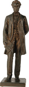 """Political:3D & Other Display (1896-present), Abraham Lincoln Bronze Statuette """"The Emancipator"""". Hollow-cast bronze, 16.75"""" tall on base, by George Edwin Bissell, E. Gru..."""