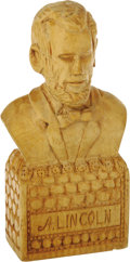 "Antiques:Folk Art, Abraham Lincoln Hand-carved Wooden Folk Art Bust. Standing 5.75""tall and 2.75"" wide, this bust has ""A. LINCOLN"" carved into..."