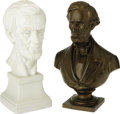 """Political:3D & Other Display (1896-present), Two Medium-Size Abraham Lincoln Busts. The bronze bust is 9.25"""" tall, 6.25"""" across the shoulders, and on a 3"""" x 3"""" base and ... (Total: 2 )"""