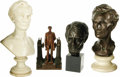 """Political:3D & Other Display (1896-present), Collection of Three Lincoln Busts & One Statue. 1.) Plaster one-piece Lincoln bust measures approximately 7.25"""" wide at its ... (Total: 4 )"""