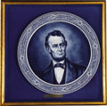 """Political:3D & Other Display (1896-present), Abraham Lincoln: A Massive Hand-Painted Delft Charger. Measuring 20"""" in diameter, this magnificent faience platter has a dis..."""