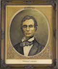 "Political:Posters & Broadsides (1896-present), Unique Color Lincoln Engraving by Pierre Birckner in Antique Frame. Matted to a size of 14.75"" x 17.5"", framed to an overall..."