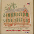 Antiques:Textiles, Small Framed Cross-Stitched Representation of Lincoln Home by Carrol. This stylishly embroidered modern keepsake depicts the...