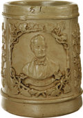 Political:3D & Other Display (pre-1896), Abraham Lincoln: A Circa 1864 Glazed Pottery Mug with HandleFeaturing his Portrait. The attractive decoration runs all arou...