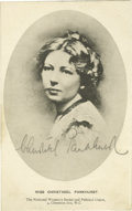 Autographs:Celebrities, Christabel Pankhurst Autographed Postcard. An exceptionally boldpencil autograph is placed in the portrait's lower field. C...