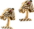 Estate Jewelry:Cufflinks, Ruby, Enamel, Gold Cuff Links, David Webb . ...