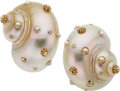 Estate Jewelry:Earrings, Diamond, Cultured Pearl, Shell, Gold Earrings, Trianon. ...