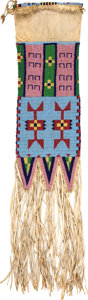Paintings, A SIOUX BEADED HIDE TOBACCO BAG. c. 1890...