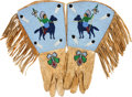 American Indian Art:Beadwork and Quillwork, A PAIR OF PLATEAU PICTORIAL BEADED AND FRINGED HIDE GAUNTLETS. c.1910... (Total: 2 Items)