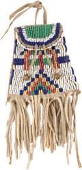 American Indian Art:Beadwork and Quillwork, A SIOUX BEADED HIDE STRIKE-A-LIGHT BAG. c. 1890...