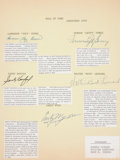 Baseball Collectibles:Others, 1972 Hall of Fame Multi Signed Sheet....