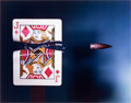 Photographs, HAROLD EUGENE EDGERTON (American, 1903-1990). Cutting the CardQuickly, 1964. Dye-transfer, circa 1980. Paper: 16 x 20 i...