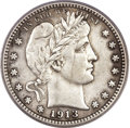 Barber Quarters, 1913-S 25C Genuine PCGS....