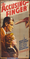 """Movie Posters:Crime, The Accusing Finger (Paramount, 1936). Three Sheet (41"""" X 81"""").Crime.. ..."""