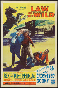 """Law of the Wild (Mascot, 1934). One Sheet (27"""" X 41"""") Chapter 3-- """"The Cross-Eyed Goony."""" Serial..."""