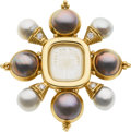 Estate Jewelry:Brooches - Pins, South Sea Cultured Pearl, Mabe Pearl, Diamond, Gold Brooch, Elizabeth Gage. ...