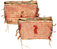 A PAIR OF SIOUX QUILLED AND BEADED HIDE TIPI BAGS c. 1890