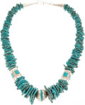 American Indian Art:Jewelry and Silverwork, A NAVAJO SILVER AND TURQUOISE NECKLACE...