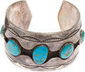 American Indian Art:Jewelry and Silverwork, A NAVAJO SILVER AND TURQUOISE CUFF BRACELET. ...