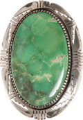 American Indian Art:Jewelry and Silverwork, A NAVAJO SILVER AND TURQUOISE RING. ...