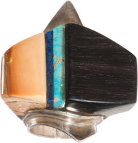 A HOPI SILVER, WOOD AND STONE RING Charles Loloma c. 1972