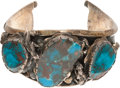 American Indian Art:Jewelry and Silverwork, A NAVAJO SILVER AND TURQUOISE BRACELET. ...