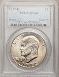 Eisenhower Dollars: , 1972-D $1 MS66 PCGS. PCGS Population (328/5). NGC Census: (0/0).Mintage: 92,548,512. Numismedia Wsl. Price for problem fre...