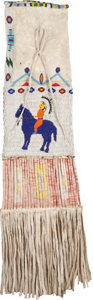 American Indian Art:Beadwork and Quillwork, A SIOUX PICTORIAL BEADED HIDE TOBACCO BAG. c. 1930...