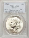Eisenhower Dollars: , 1974-S $1 Silver MS68 PCGS. PCGS Population (891/3). NGC Census:(0/0). Mintage: 1,900,156. Numismedia Wsl. Price for probl...