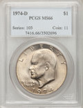 Eisenhower Dollars: , 1974-D $1 MS66 PCGS. PCGS Population (411/14). Mintage: 45,517,000. Numismedia Wsl. Price for problem fr...
