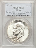 Eisenhower Dollars: , 1972-S $1 Silver MS68 PCGS. PCGS Population (1394/13). NGC Census:(0/0). Mintage: 2,193,056. Numismedia Wsl. Price for pro...