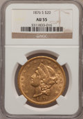 Liberty Double Eagles: , 1876-S $20 AU55 NGC. NGC Census: (594/3769). PCGS Population(423/1965). Mintage: 1,597,000. Numismedia Wsl. Price for prob...