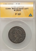 Colonials, 1786 COPPER Connecticut Copper, Mailed Bust Left Fine 12 ANACS.W-2620, Miller 5.8-F, R.5. NGC Census: (0/6). PCGS Populati...