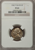 Proof Jefferson Nickels, 1942-P 5C Silver Type Two PR65 NGC. NGC Census: (665/1307). PCGSPopulation (1763/1652). Mintage: 27,600. Numismedia Wsl. P...