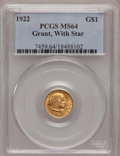 Commemorative Gold: , 1922 G$1 Grant With Star MS64 PCGS. PCGS Population (562/1301). NGCCensus: (310/687). Mintage: 5,016. Numismedia Wsl. Pric...