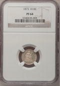 Proof Seated Half Dimes: , 1873 H10C PR64 NGC. NGC Census: (57/65). PCGS Population (72/47).Mintage: 600. Numismedia Wsl. Price for problem free NGC/...