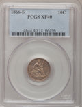 Seated Dimes: , 1866-S 10C XF40 PCGS. PCGS Population (4/20). NGC Census: (0/0).Mintage: 135,000. Numismedia Wsl. Price for problem free N...