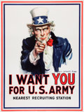 Military & Patriotic:WWI, Possibly the Single Most Iconic Image of American Involvement in World War I - The Uncle Sam Recruiting Poster by James Montgo...