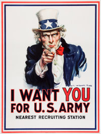 Possibly the Single Most Iconic Image of American Involvement in World War I - The Uncle Sam Recruiting Poster by James...