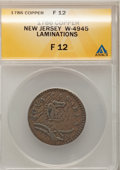 Colonials, 1786 COPPER New Jersey Copper, Narrow Shield--Laminations--Fine 12ANACS. W-4945, Maris 23-R, R.4. NGC Census: (1/21). PCG...